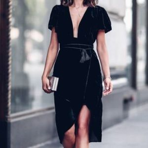 Black midi v neck dress